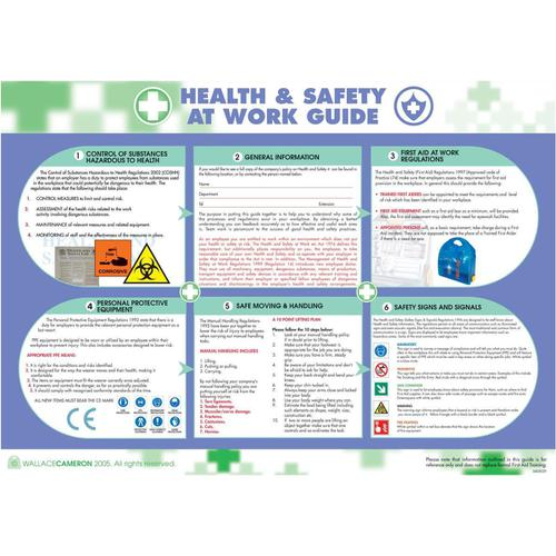 Wallace Cameron Health and Safety At Work Poster Laminated Wall-mountable W590xH420mm Ref 5405023