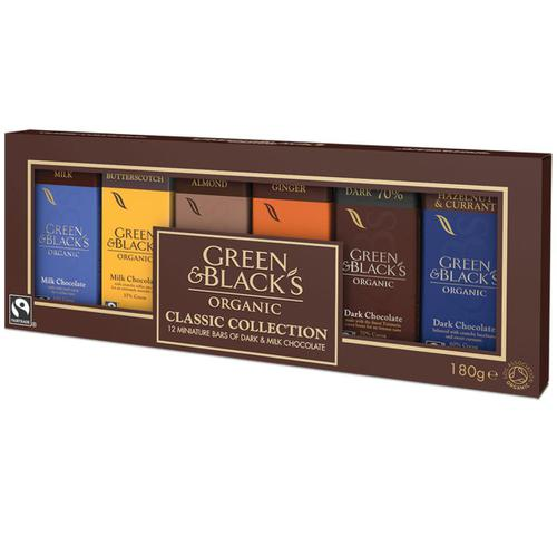 Green & Blacks Organic Chocolate Miniatures Classic Collection Assorted Ref 666695 [Pack 12]