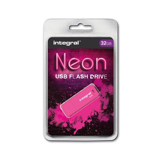 Integral Neon USB Drive 2.0 32GB Pink Ref INFD32GBNEONPK