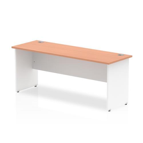Trexus Desk Rectangle Panel End 1800x600mm Beech Top White Panels Ref TT000105