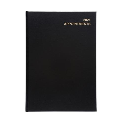 5 Star Office 2021 Appointment Diary Day to Page Casebound and Sewn Vinyl Coated Board A4 297x210mm Black
