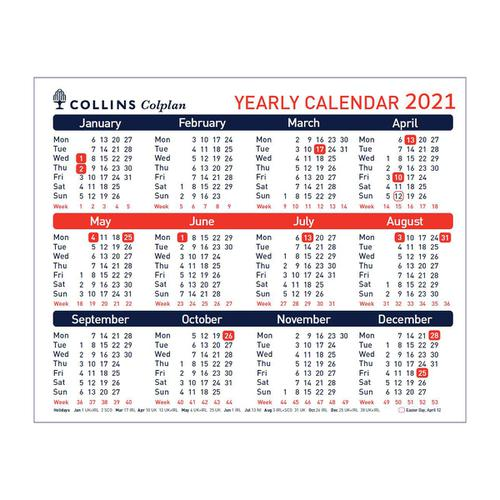 Collins 2021 Yearly Calendar for Wall or Desktop Landscape 210x260mm White Ref CDS1 2021