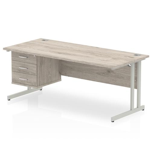 Trexus Rectangular Desk Silver Cantilever Leg 1800x800mm Fixed Ped 3 Drawers Grey Oak Ref I003512