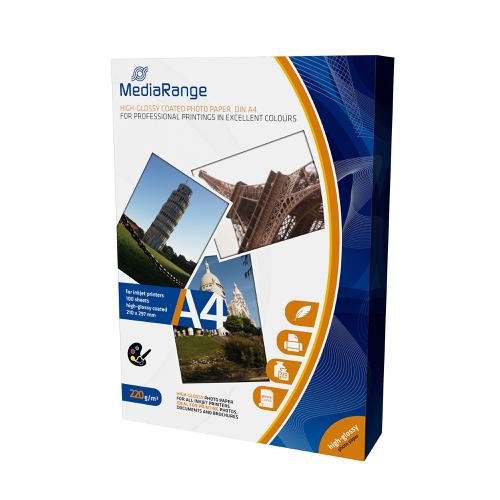MediaRange InkJet Photo Paper A4 Gloss 220gsm Ref MRINK103 [100 Sheets]
