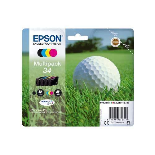 Epson 34 Inkjet Cartridge Page Life 350/300pp 18.7ml B/C/M/Y Ref C13T34664010 [Pack 4]