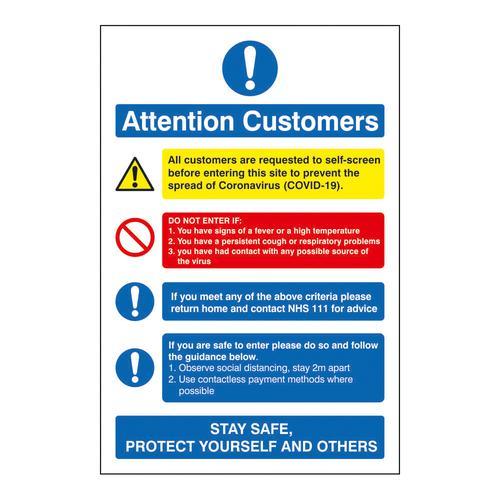 Attention Customers COVID19 Action Notice 200x300mm Semi Rigid Plastic