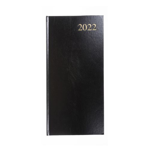 5 Star Office 2022 Slim Portrait Pocket Diary Two Weeks to View Casebound Sewn 80x160mm Black Ref 142942