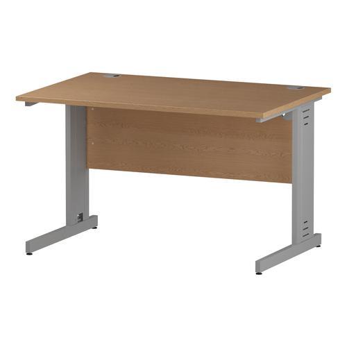 Trexus Rectangular Desk Silver Cable Managed Leg 1200x800mm Oak Ref I000850