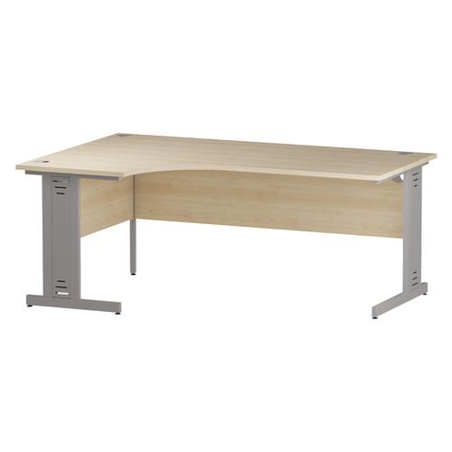 Trexus Radial Desk Left Hand Silver Cable Managed Leg 1800/1200mm Maple Ref I000531