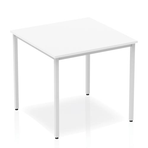 Trexus Square Box Frame Silver Leg Table 800x800mm White Ref BF00114