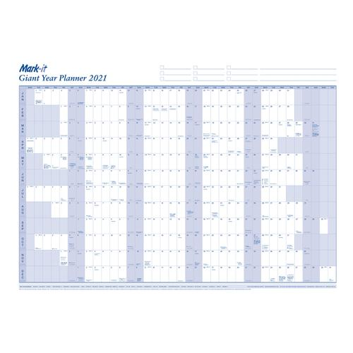 Mark-it 2021 Giant Year Planner Unmounted Landscape with Accessory Kit 1165x820mm Blue/White Ref 21YP