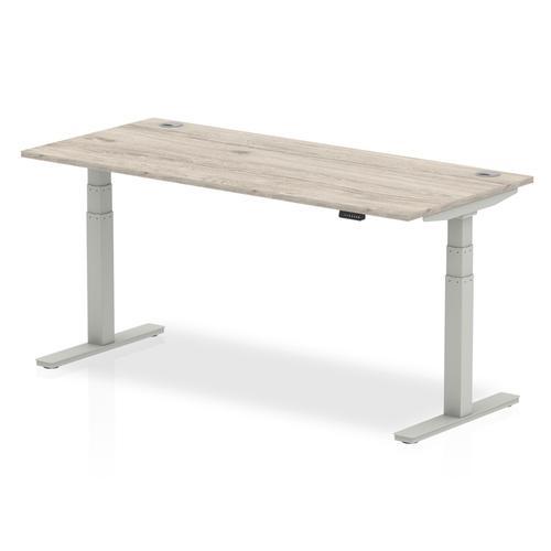 Trexus Sit Stand Desk Silver Legs 1800x800mm Grey Oak Ref