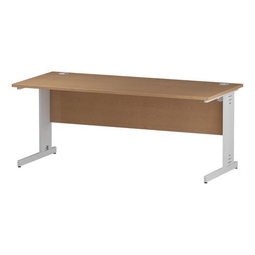 Trexus Rectangular Desk White Cable Managed Leg 1800x800mm Oak Ref I002726