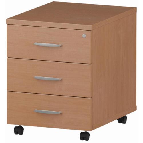Trexus 3 Drawer Mobile Pedestal 430x500x510mm Beech Ref I000065