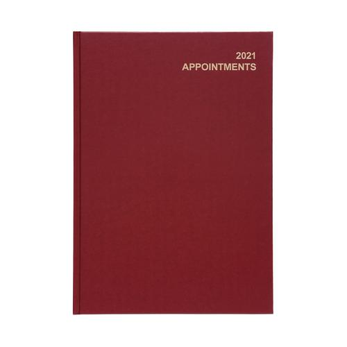 5 Star Office 2021 Appointment Diary Day to Page Casebound and Sewn Vinyl Coated Board A4 297x210mm Red
