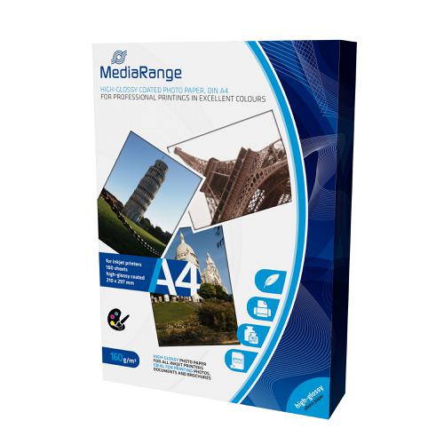 MediaRange InkJet Photo Paper A4 Gloss 160gsm Ref MRINK105 [100 Sheets]