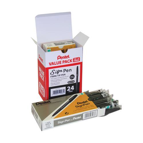 Pentel Sign Pen 2.0mm Tip Value Pack Black Ref S520/24-A [Pack 24]