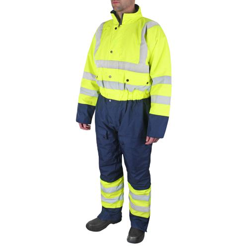 B-Seen Hi-Vis Thermal Waterproof Coveralls Yellow/Navy 3XL Ref BD900SYNXXXL *UpTo 3 Day Leadtime*