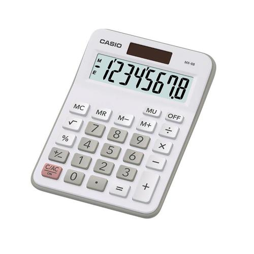 Casio Desktop Calculator 8 Digit 4 Key Memory Battery/Solar Power 103x31x137mm Silver Ref MX-8B-WE