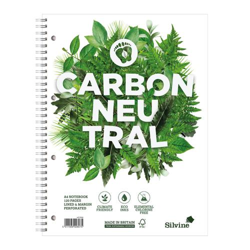 Silvine Notebook Carbon Ntral Wirebnd 80gsm Ruled Margin Perf Punched 4 Holes 120pp A4+ Ref R302 [Pack 5]