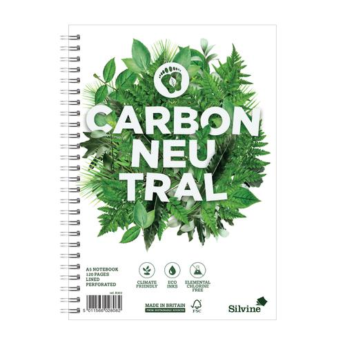 Silvine Notebook Carbon Ntral Wirebnd 80gsm Ruled Margin Perf Punched 4 Holes 120pp A5 Ref R303 [Pack 5]