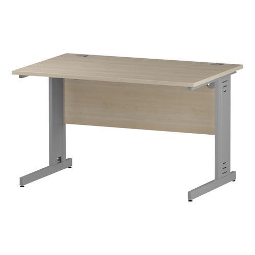 Trexus Rectangular Desk Silver Cable Managed Leg 1200x800mm Maple Ref I000516