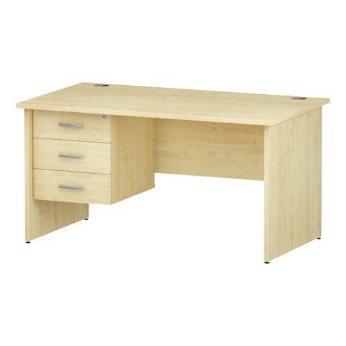 Trexus Rectangular Desk Panel End Leg 1400x800mm Fixed Pedestal 3 Drawers Maple Ref I002481