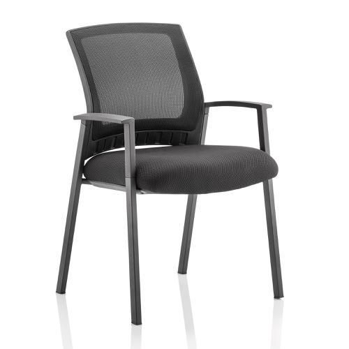Trexus Metro Visitor Chair With Arms Fabric Seat Mesh Back Black Ref BR000090