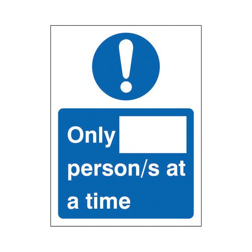 Only X Persons at a time Sign 200x300mm Self Adhesive Vinyl