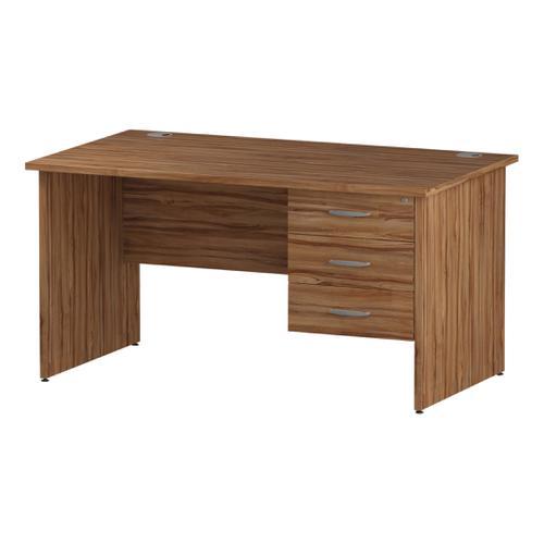 Trexus Rectangular Desk Panel End Leg 1400x800mm Fixed Pedestal 3 Drawers Walnut Ref I001974