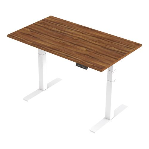 Trexus Sit Stand Desk Height-adjustable White Leg Frame 1400/800mm Walnut Ref HA01026