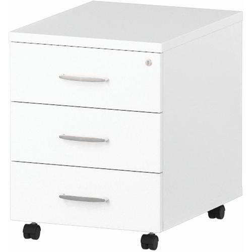 Trexus 3 Drawer Mobile Pedestal 430x500x510mm White Ref I000185