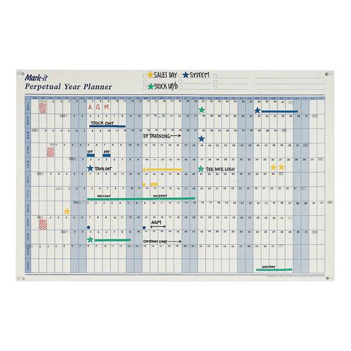 Mark-it Perpetual Year Planner Laminated with Repositionable Date Strips W900xH600mm Ref DPYP