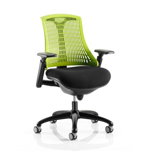 Trexus Flex Task Operator Chair With Arms Black Fabric Seat Green Back Black Frame Ref KC0074