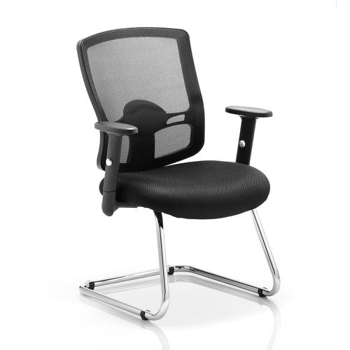 Sonix Portland Cantilever ChairWith Arms Mesh Black Ref EX000136