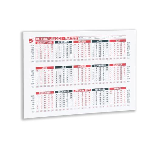5 Star Office 2021 Wall or Desk Calendar Jan 2021-March 2022 A4 297x210mm White