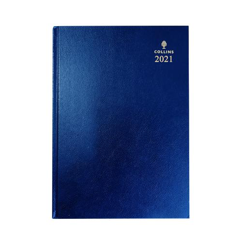 Collins 2021 Royal Desk Diary Day to Page Sewn Binding A5 210x148mm Blue Ref 52 Blu 2021