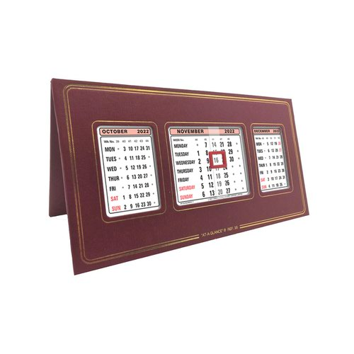 At-A-Glance 2022 Desk Calendar Three Months to View Leatherette Binding 250x130mm Assorted Ref 3S 2022