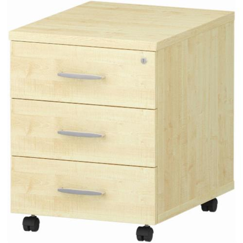 Trexus 3 Drawer Mobile Pedestal 430x500x510mm Maple Ref I000245