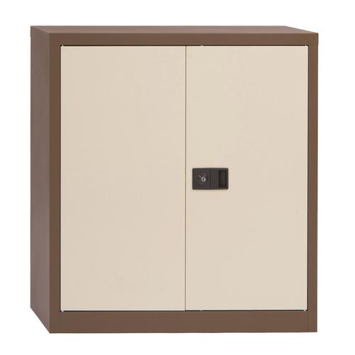 Trexus Two Door Steel Storage Cupboard 914x400x1000mm Coffee/Cream Ref E402A01-av5av6