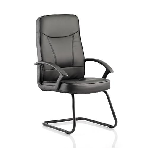 Trexus Blitz Cantilever Chair With Arms Black Bonded Leather Black Ref BR000179