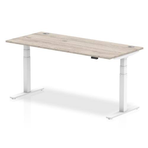 Trexus Sit Stand Desk White Legs 1800x800mm Grey Oak Ref HA01168