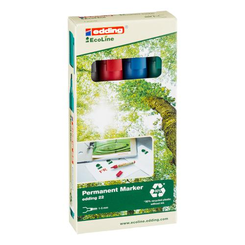 Edding e-22 EcoLine Permanent Marker Chisel Tip Assorted Ref 4-22-4 [Pack 4]