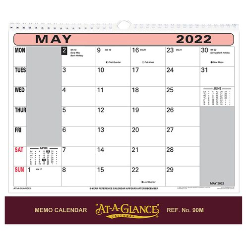 At-A-Glance 2022 Flip-over Wall Calendar Month to View 330x276mm Assorted Ref 90M 2022