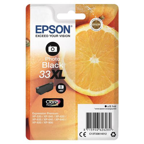 Epson T33XL Inkjet Cartridge Orange High Yield Page Life 400pp 8.1ml Photo Black Ref C13T33614012