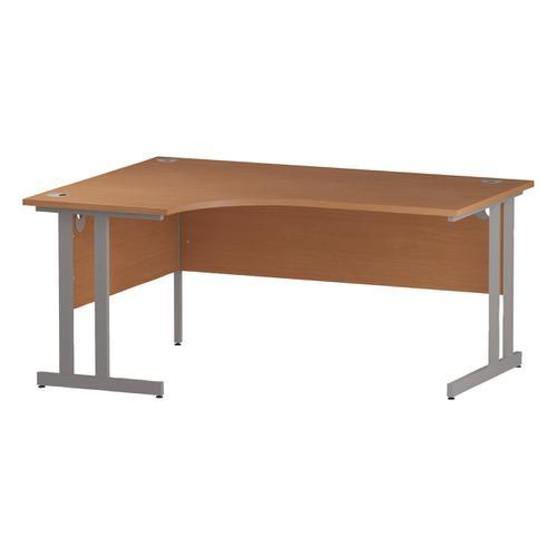 Trexus Radial Desk Left Hand Silver Cantilever Leg 1600mm Beech Ref I000299