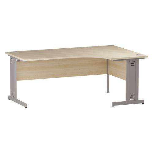 Trexus Radial Desk Right Hand Silver Cable Managed Leg 1800/1200mm Maple Ref I000532