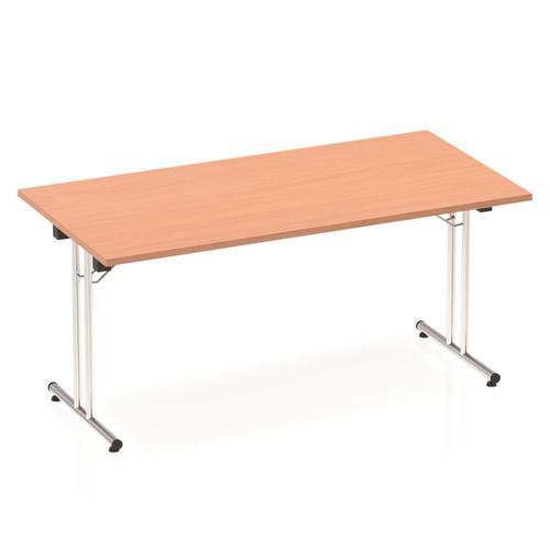 Sonix Rectangular Chrome Leg Folding Meeting Table 1600x800mm Beech Ref I000691