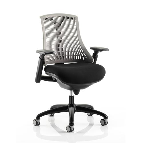 Trexus Flex Task Operator Chair With Arms Black Fabric Seat Grey Back Black Frame Ref KC0077