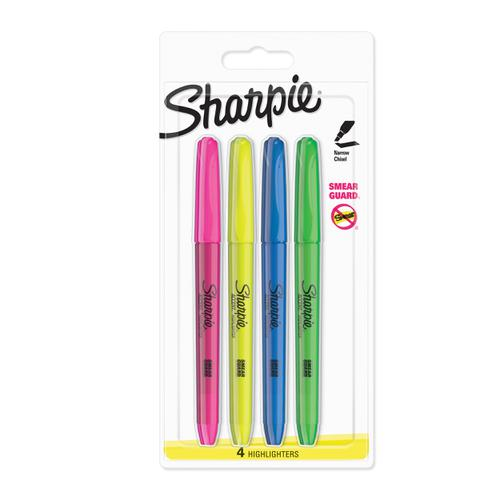 Sharpie Accent Highlighter Pens Chisel Tip Assorted Fluorescent Ref S0907200 [Pack 4]